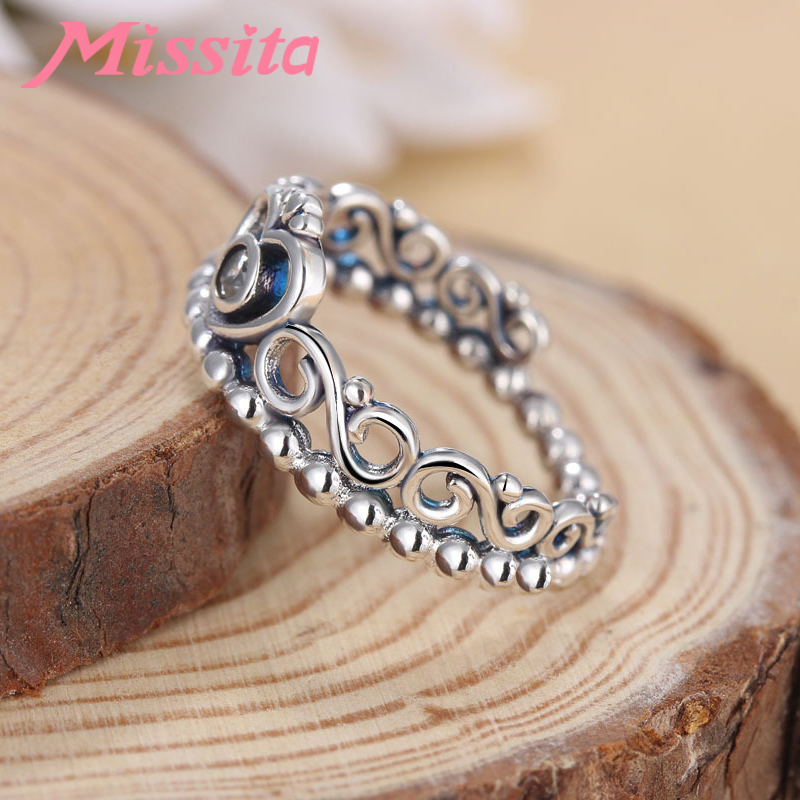 MISSITA 100 925 Sterling Silver Classic Clear Crystal Crown Rings For Women Girls Gift Brand Jewelry Engagement anillos mujer in Rings from Jewelry Accessories
