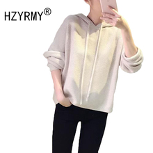 HZYRMY Autumn Winter New Women's Cashmere Sweater Fashion Hooded Collar Loose Large size High Quality Blouse Wool Solid Pullover цена и фото