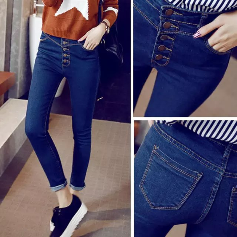 Spring New Denim Jeans Skinny Jeans Woman High Waist Jeans Five-button Blue Pant Female Elastic Tight-fitting Pencil Pants image
