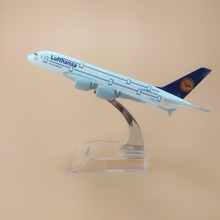 16cm Alloy Metal Germany Air Lufthansa A380 Airlines Airplane Model Lufthansa Airbus 380 Airways Plane Model Aircraft Kids Gifts(China)