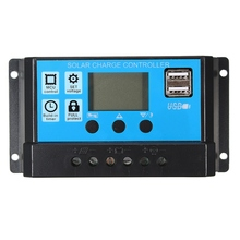 Leory PWM 12V/24V 10/20/30A Solar Controller Dual USB LCD Display Solar Panel Charge Regulator Built In Timer Control
