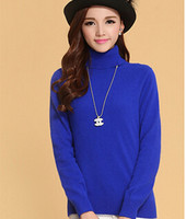 Nice High Quality Pure Cashmere Sweater Pullover Turtleneck Turn Down Collar Solid Color Women S Basic