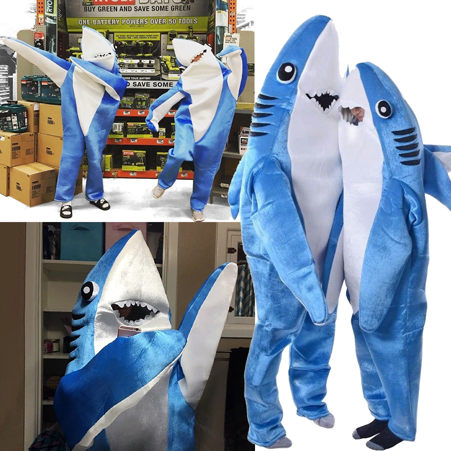 NEW Adults Kids Halloween Christmas Cosplay Costume Shark Stage Fancy Jumpsuit Dress Cartoon Lovely Cute Performance