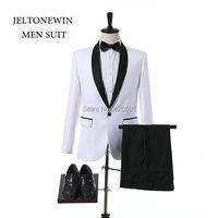 New Arrival Białe Garnitury Ślubne Dla Mężczyzn Szal Lapel Slim Fit Smokingi Formalne Elegancki Terno Groom Mężczyźni Garnitur Kostium Homme Masculino