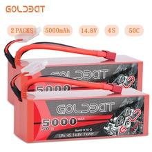 2ユニットgoldbat 5000 2600mahの14.8vリポバッテリーrcバッテリーリポ4s 50Cとディーンズt & XT60プラグrcバギークローラモンスタートラック