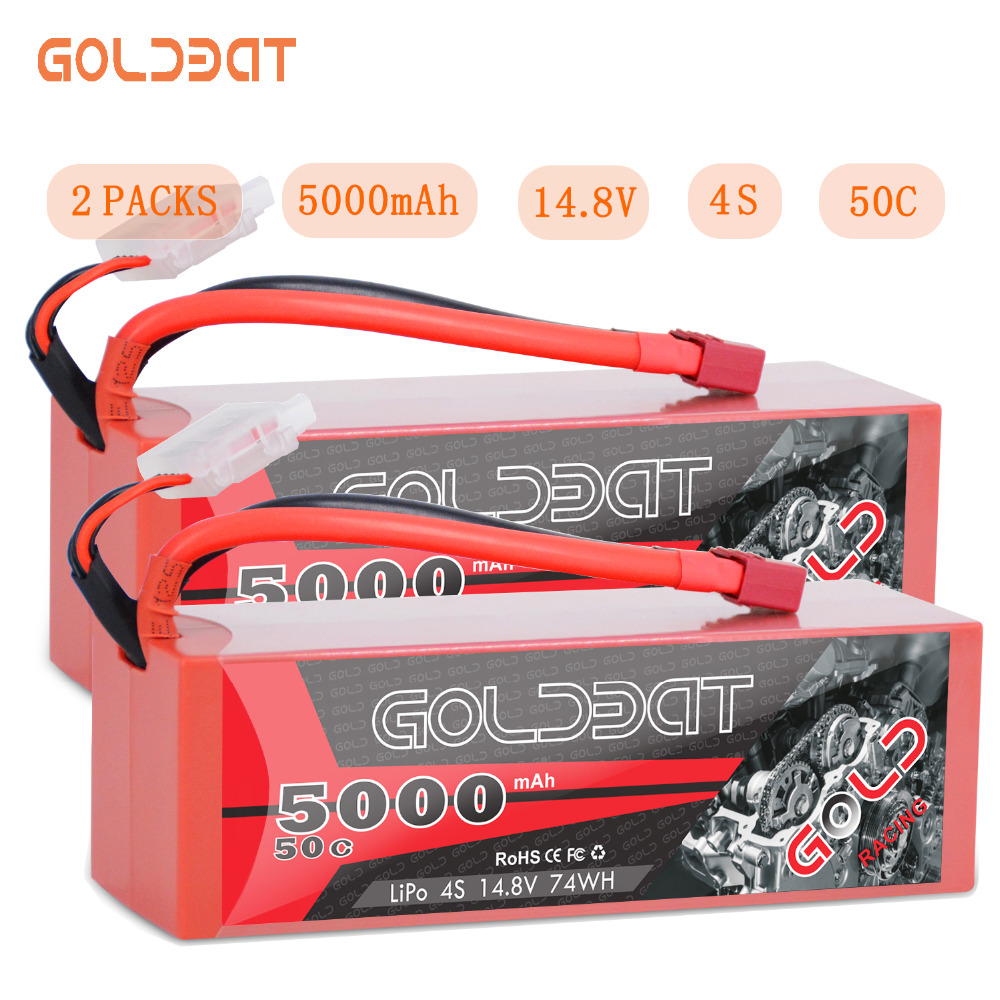 2units GOLDBAT <font><b>5000mAh</b></font> 14.8V LiPo Battery for RC battery lipo <font><b>4S</b></font> 50C with Deans T & XT60 Plug for RC Buggy Crawler Monster Truck image