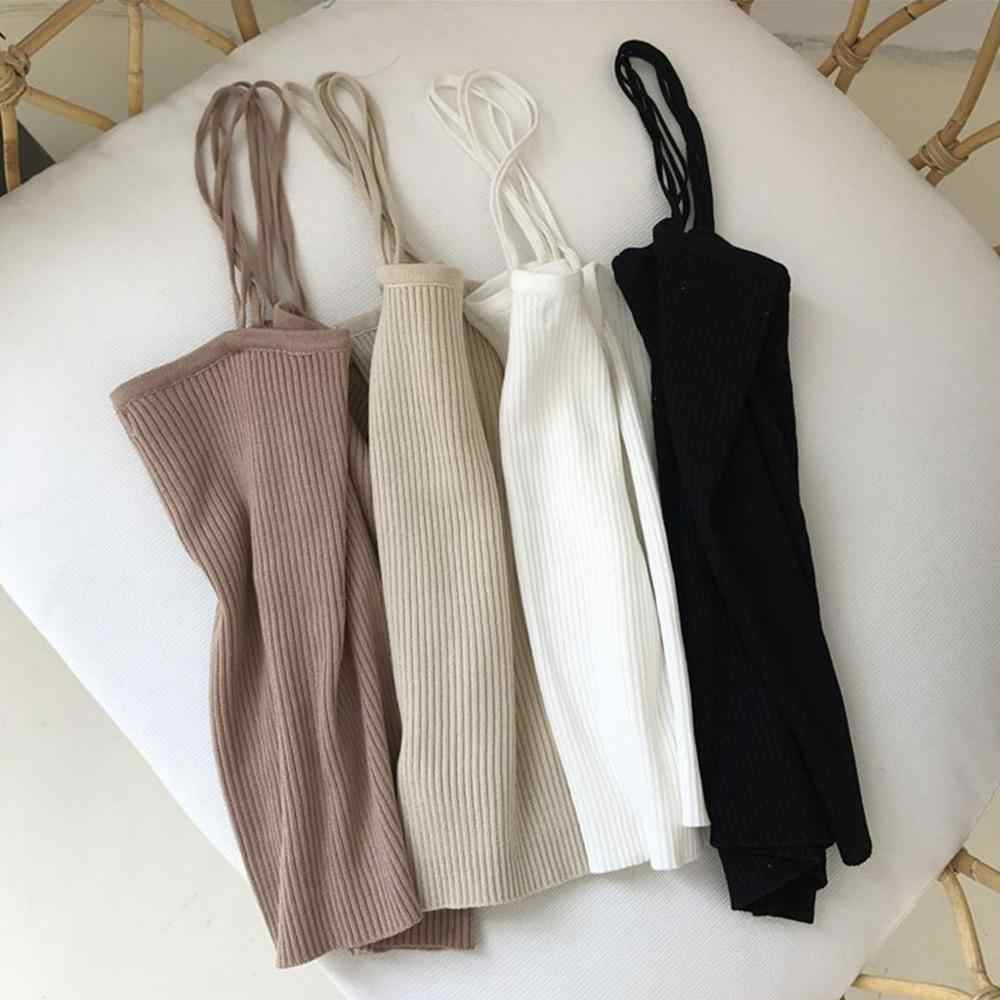 Korean Minimalist Women Sleeveless Ribbed Knit Vest Double Spaghetti Straps Plain Solid Color Camisole Casual Slim Tube Tank Top