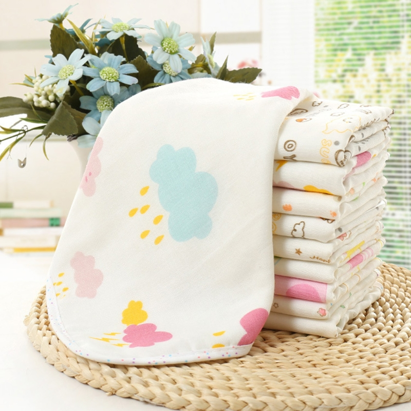 NoEnName-Null Baby Towel 30x30cm Cartoon Soft Wipe Food Washing Face Floral For Newborn Kids