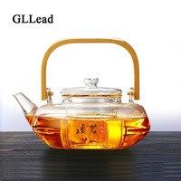 GLLead Fashion 800ml Heat Resistant Glass Tea Pot Flower Tea Set Puer Kettle Creative Bamboo Handle Glass Teapots With Infuser