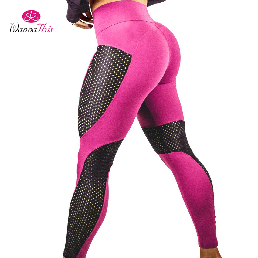 WannaThis Mesh Patchwork Fitness Push Up Leggings Summer Women Casual Elastic Leggings Adventure Time Workout Cool Sexy Pants