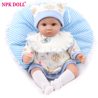 NPKDOLL Dolls Reborn Baby Lifelike Blue Soft Silicone Pretty Kids Birthday Gift Soft Rooted Mohair Toys