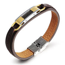 New Fashion Jewelry Rock Style Stainless Steel Gold color Genuine PU Leather Personality Men Bracelet Male Bangles