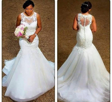 Real Image Mermaid Wedding Dresses 2018 Sheer Neck Appliques Lace Country Bridal Gowns Custom Size Button Back