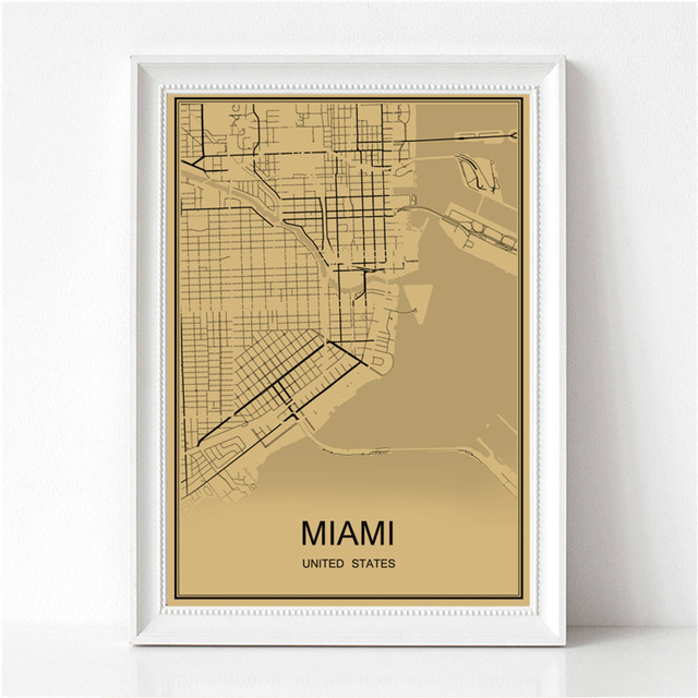 MIAMI Vintage poster Krafts paper World map Retro painting art Wall ...