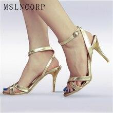 купить Plus Size 34-47 High Heels Sandals Women Pumps Sexy Thin Heel Summer Shoes Fashion bride Wedding party pompes ankle strap femme дешево