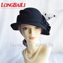 LongBaiLi Winter New Fashion Floral Black Wool Felt Bucket Hats Women Chapeau Fedoras Free Shipping SADW007