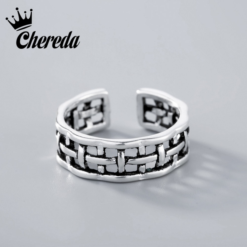 Chereda Vintage Women Jewelry Silver Rings Belt Buckle Hollow Intersect Personality Ring Unisex Lattice Ring Fine Accessories