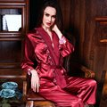 New Arrival Spring Autumn Fashion Women Silk Pajamas Sets Casual Ladies Red Sleepwear Female Home Sleep Wear Suits Robes