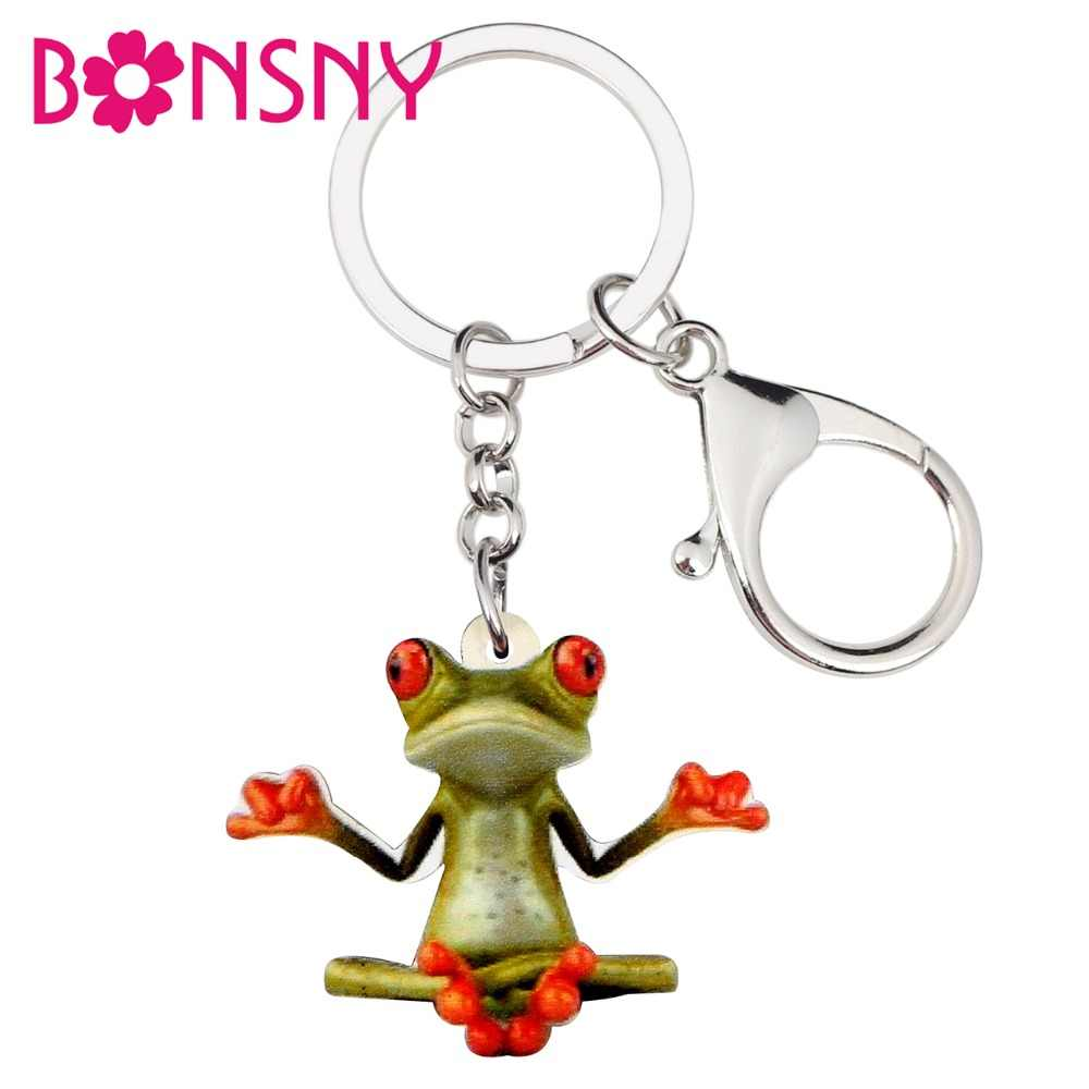 Bonsny acrílico meditación Rana llaveros anillo dibujos animados Animal joyería para mujeres niñas señoras bolso coche monedero encantos regalo