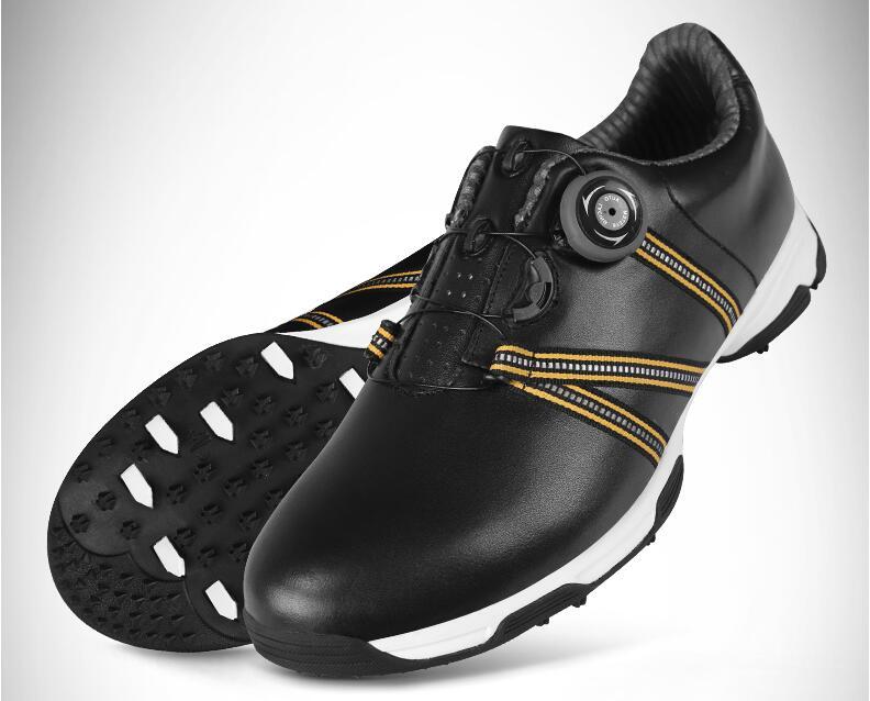 Высокое качество! 2017 г. лакированные Туфли для гольфа Для мужчин водонепроницаемой кожи Обувь шнуровка отправить деятельности ногтей автом...