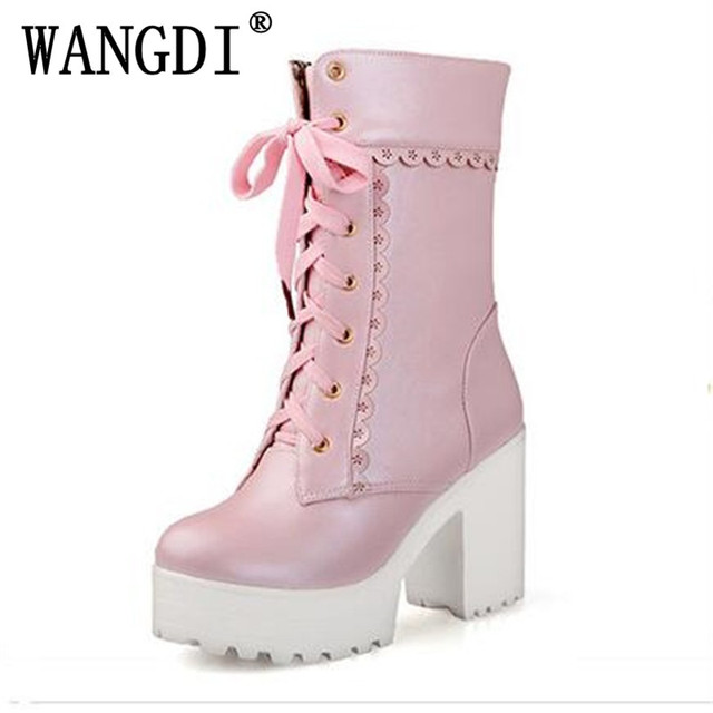 Lolita pink black white lace up tied high heel student shoes sweet ...