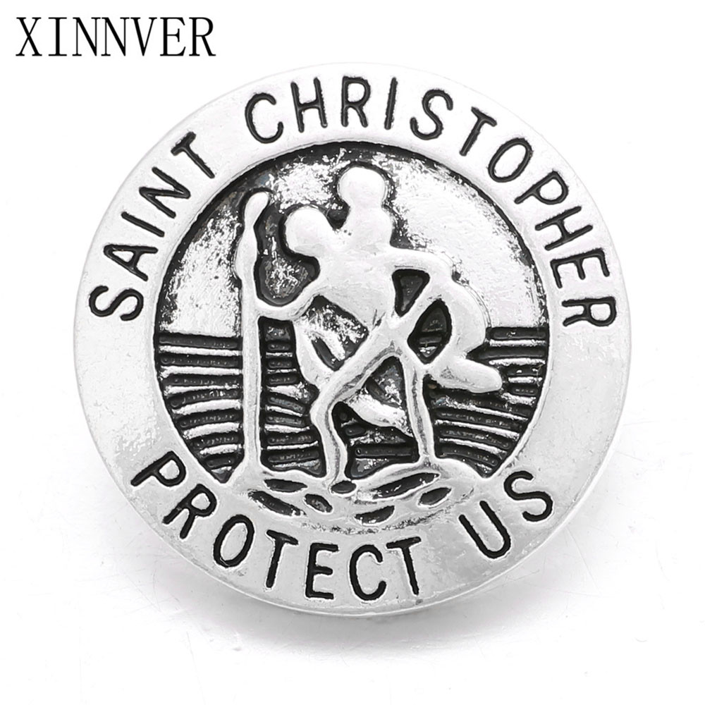2pcs/lot 2017 Newest Xinnver Snap Buttons Saint Christopher Protect Us Fit 18mm Snaps Bracelet&necklace Jewelry Za506
