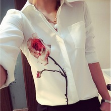 Plus Size Womens Rose Flower Printed Chiffon Shirt Autumn Long Sleeve Tops And Blouses Women Turn Down Collar Blouse Female