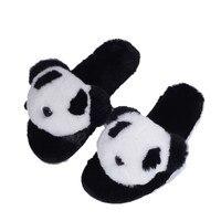 Shoes Women 2018 Hot Sale Warm Cozy Flock Flat Ladies Shoes Indoor Faux Fur Soft Panda Face Winter Home Slippers For Women