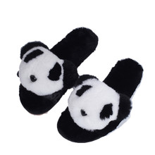 Shoes Women 2018 Hot Sale Warm Cozy Flock Flat Ladies Indoor Faux Fur Soft Panda Face Winter Home Slippers For