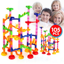 29/50/74/80/91/105Pcs Marble Race Run Building Blocks Toys Tubular Track Maze Ball Rolling Toy Children DIY Toy Blocks Kids Gift