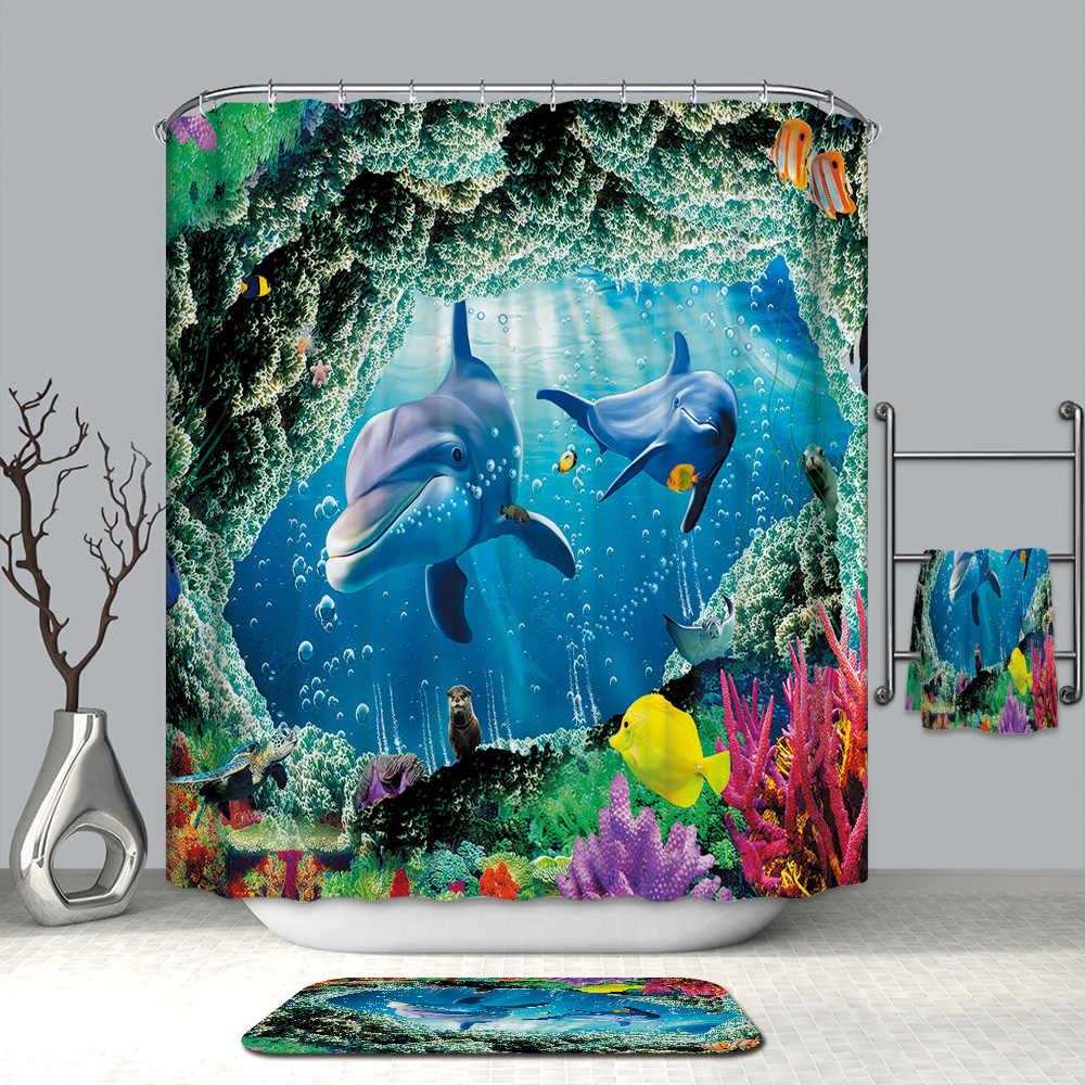 3D Красочные подводный мир занавески для душа Дельфин Морская звезда водостойкие плесени утолщенной для ванной шторы в ванную комнату