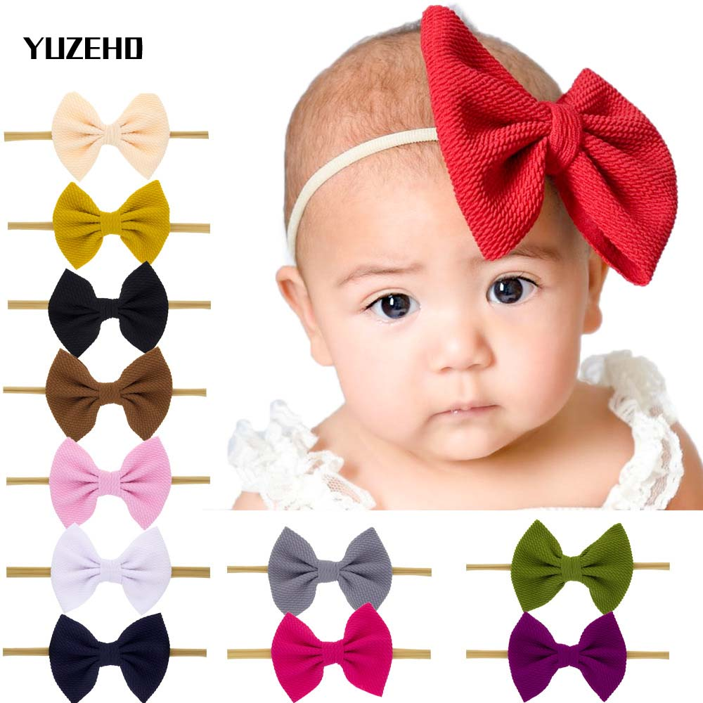 Nylon Headband Bow Headbands For Kids Girls Soft Elastic Hair Accessories Cotton