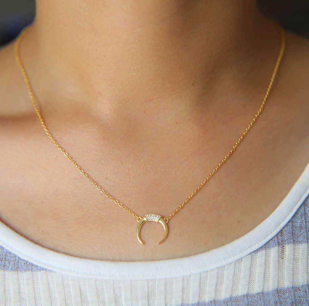 Подарок на Рождество Гарантия 925 Стерлинговое серебро розовое золото цвет полумесяц изящный крест тонкая цепочка Серебряный женский кулон с полумесяцем