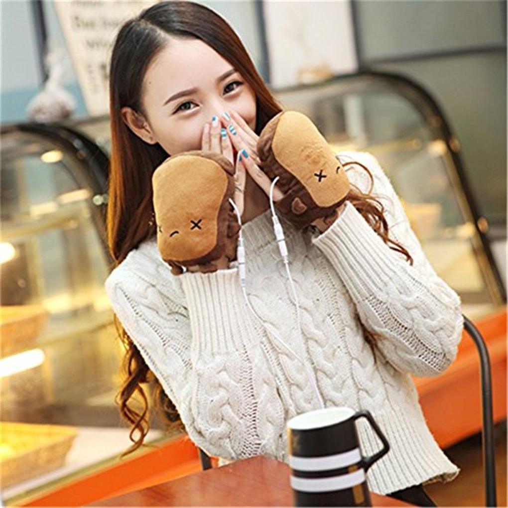 Heated motorcycle gloves new zealand - Brand New Usb Handwarmers Heated Half Finger Women Hand Warmer Gloves Christmas Gift Practical China