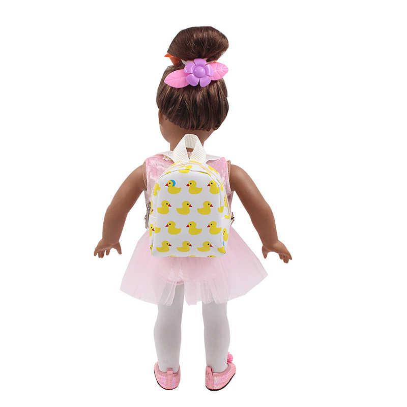 Accesorios de muñeca de conversación 2 colores mochila Linda mochila pequeño bolso de patos amarillos para muñeca de 18 pulgadas