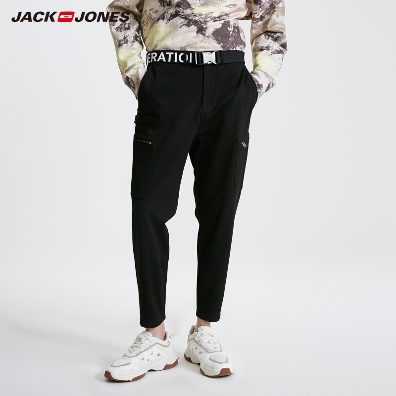 JackJones Men's High Stretch Cargo Pants Color Casual Crop Pants 219114533