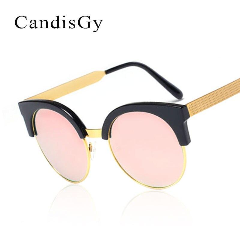 8eb5bd7e4 نصف إطار جولة المرأة مرآة نظارات أزياء العلامة التجارية مصمم uv400 الوردي  سيدة النظارات الإناث إطار معدني القط العين