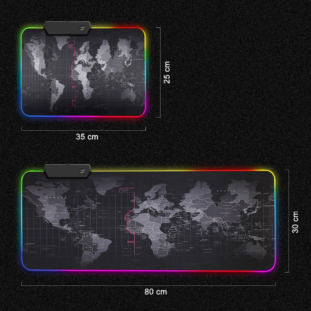 Gaming Mousepad with RGB World Map