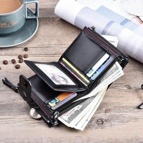 2019 Men Wallets Short PU Leather Double Zipper Hasp Men Purses Card Holder Coin Pocket Vintage High Quality Brand Men Wallets Multan