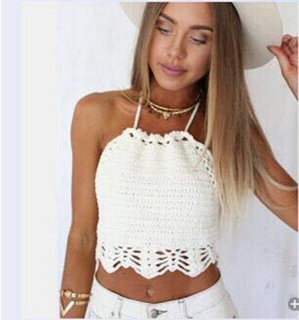 Nueva Niza verano mujeres crochet crop POPs casual Camisetas de ...