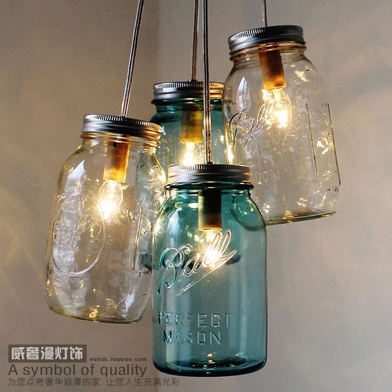 Lovely American Country Vintage Pendant Lamp Nordic Glass Bottle Bar Hanglamp  Restaurant Pendant Light Fixtures E27 110V