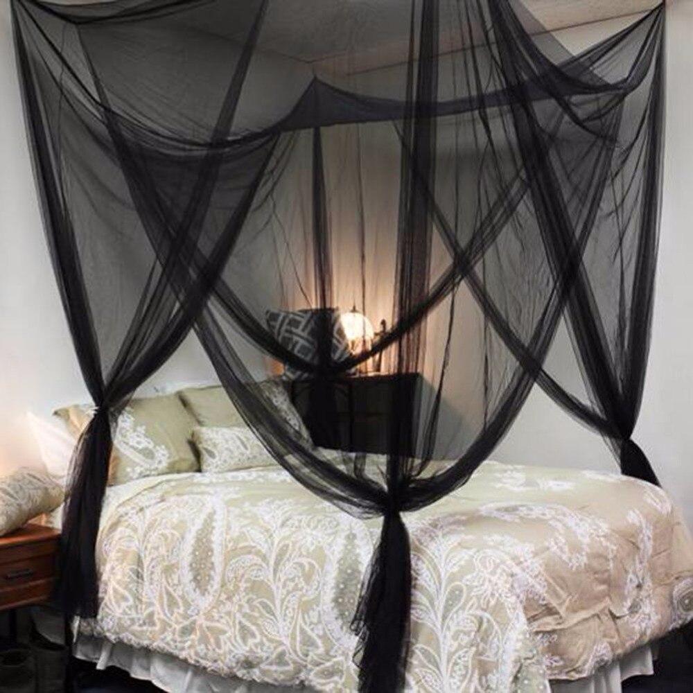 elegante cuatro esquinas cama con dosel red mosquitera completa queen king size ropa de cama