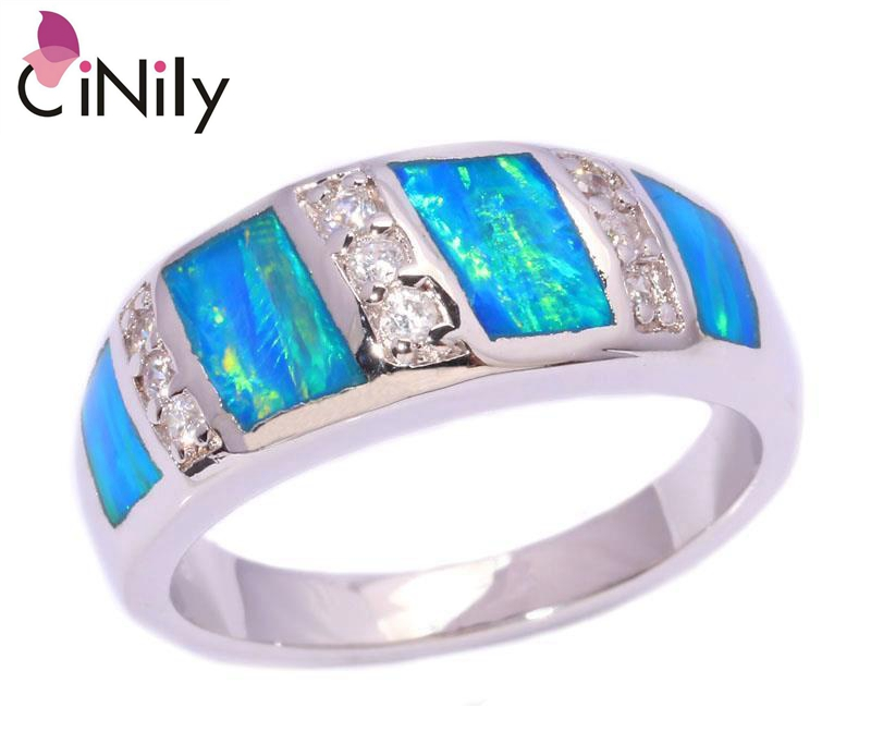 CiNily Created Blue Fire Opal Cubic Zirconia Silver Plated Rings Wholesale for Women Jewelry Gift Ring