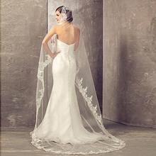 Veu de noiva, длинная Кружевная аппликация, один слой, 2,7 м, Длинная фата, свадебная фата, с гребнем, свадебные аксессуары, Фата для невесты
