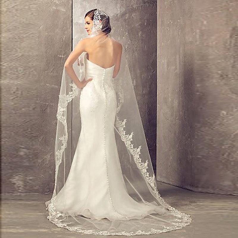 Veu De Noiva Longo Lace Appliques One Layers 2.7 M Long Veils Wedding Veils 2020 With Comb Wedding Accessories Bridal Veils