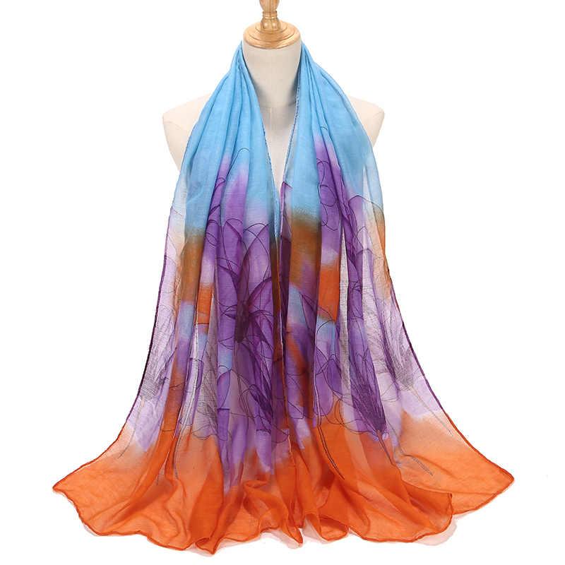 Женские мягкие шали с цветочным принтом, хлопковый шарф, простая накидка, элегантная повязка на голову, льняные хиджабы, шарфы, пончо Bufanda