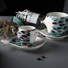 Handmade 3D Fish Shape Ceramic Cup And Saucer Coffee Cup Set Afternoon Black Tea Porcelain Teacup Couple Gift Double Wall Mug