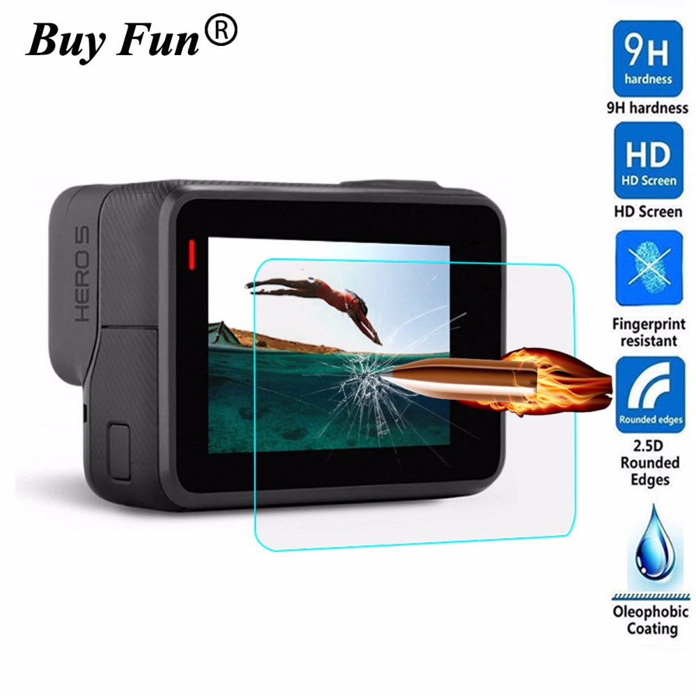 For GoPro Hero5 Black Tempered Glass LCD Display Screen Protector Hero 5 Black Camera Lens 9H 2.5D Protective Film Cover 2PCS