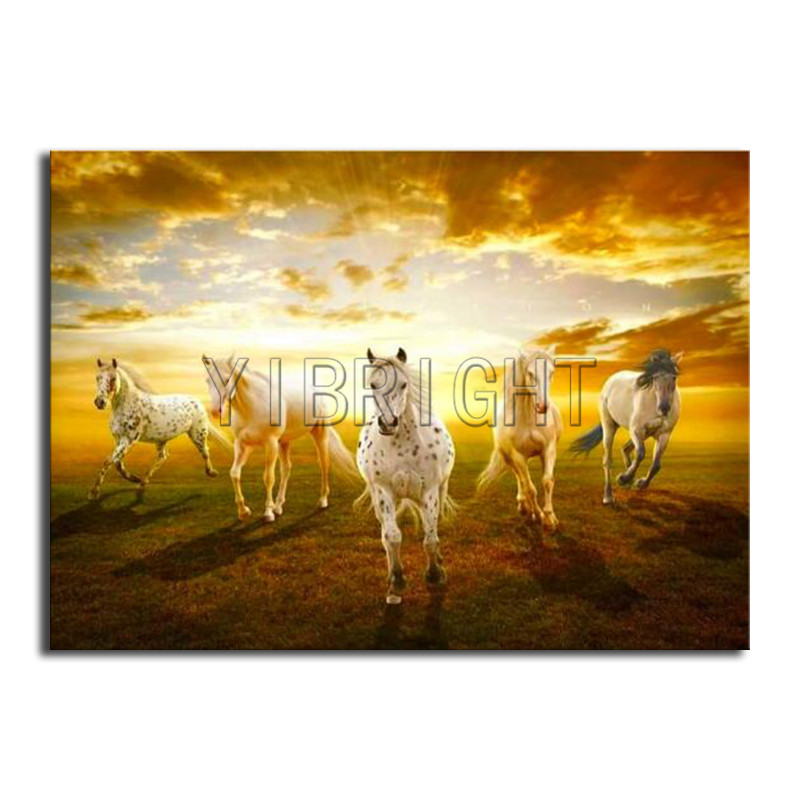 Full Square Diamond mosaic sunset 5D DIY Diamond embroidery Cross stitch five horse Full Round Diamond painting animal