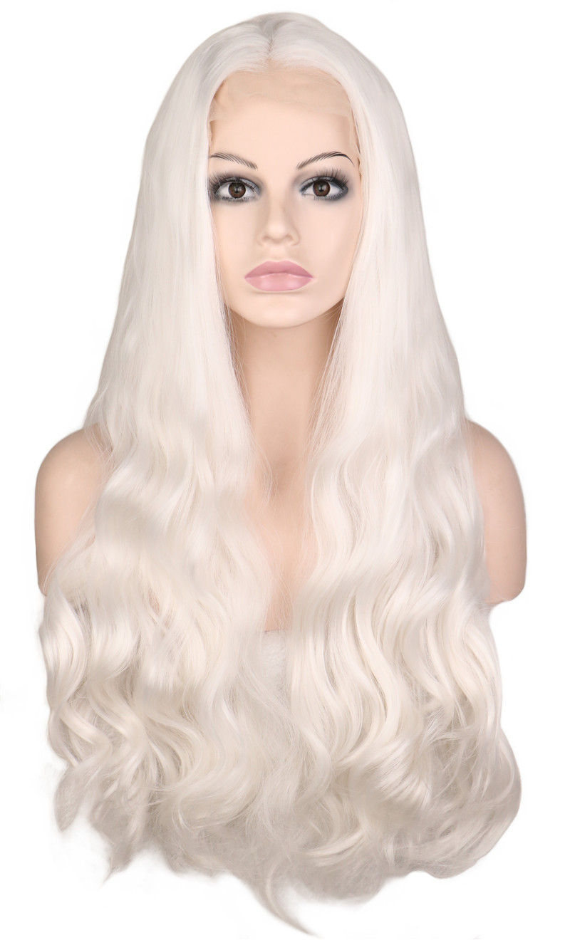 QQXCAIW Handmade Natural Hairline Glueless Lace Front Wig For Women White Body Wave Heat Resistant Fiber Synthetic Hair Wigs